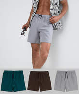 Asos Swim Shorts In Brown Green & Gray Mid Length 3 Pack SAVE