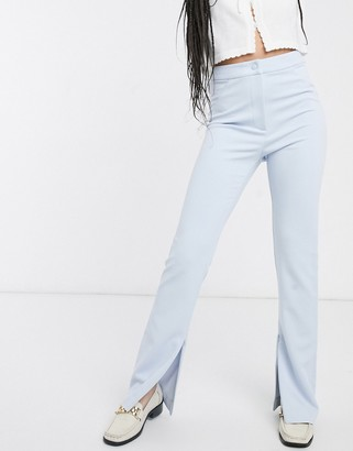 Weekday straight leg split hem trousers in light blue