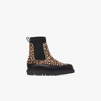 Sacai Gore leopard-print ankle boots