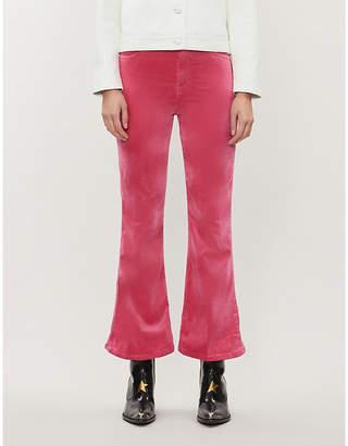 J Brand Julia cropped high-rise flared velvet jeans