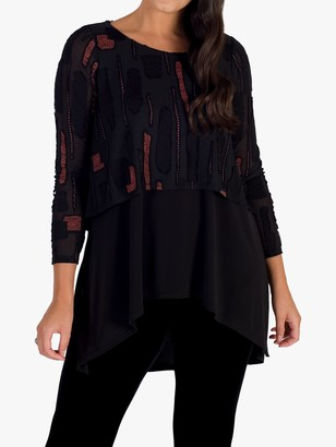 Chesca Dotty Burnout Tunic Top, Black/Orange