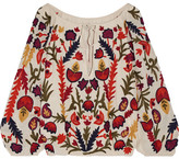 Alice + Olivia Naya Off-the-shoulder Embroidered Crinkled-gauze Top - Cream