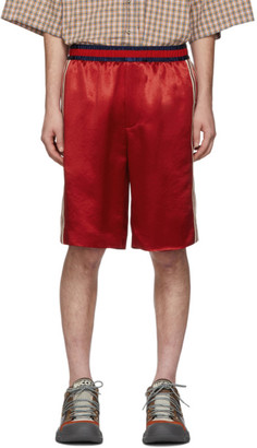 Gucci Red Silk Basketball Shorts