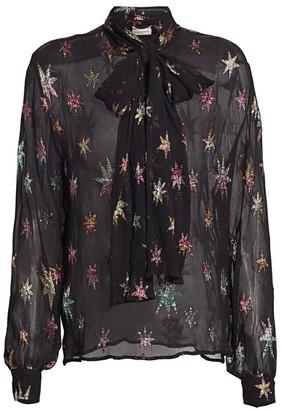 Saint Laurent Metallic Star Sheer Button-Down Shirt