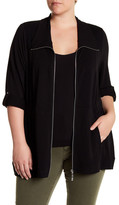 Cable & Gauge Roll Sleeve Knit Jacket (Plus Size)