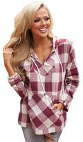Amouryaa New Womens Long Sleeve Blouse Tops Round Neck Plaid Checked Loose Shirt