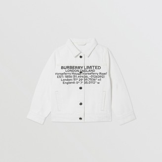 Burberry Childrens Location Print Japanese Denim Jacket