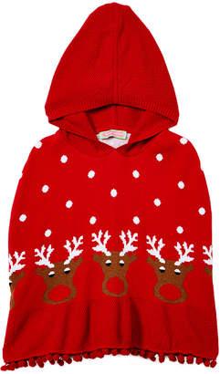 SAM. Sophie & Girls' Ponchos Red - Red Reindeer Hooded Poncho - Infant