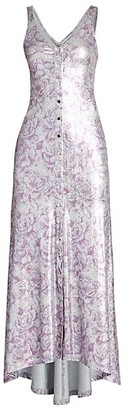 Paco Rabanne Metallic Print Midi Dress