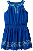 My Michelle Girls 7-16 Print Border Pom-Pom Trim Dress