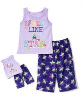 Komar Kids Purple 'Sparkle' Pajama Set & Doll Pajama Set - Girls