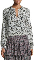 Derek Lam 10 Crosby Long-Sleeve Floral Silk Blouse, Black/White