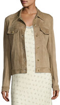 The Row Coltra Suede Button-Front Jacket, Sand