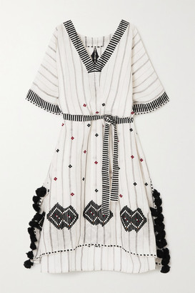 Eres Clara Tasseled Embroidered Striped Linen And Cotton-blend Kaftan - White