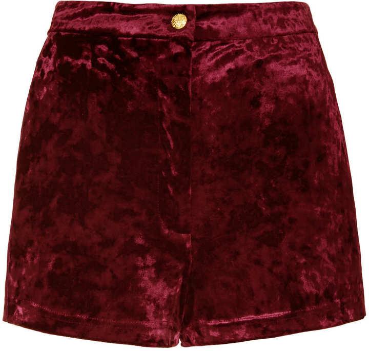 Topshop Berry Crushed Velvet Shorts