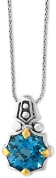 Effy Balissima Blue Topaz Pendant Necklace (6-1/5 ct. t.w.) in Sterling Silver and 18k Gold