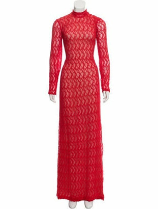 Sandra Mansour Lace Evening Dress Red