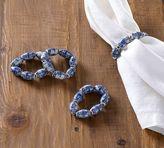 Pottery Barn Blue Bead Napkin Ring, Set of 4