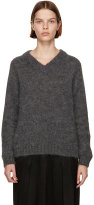 Prada Grey Mohair V-Neck Sweater