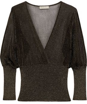 Emilio Pucci Wrap-effect Metallic Crochet And Ribbed-knit Top