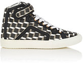 Pierre Hardy WOMEN'S COATED CANVAS HIGH-TOP SNEAKERS-BLACK, WHITE, GREY SIZE 10