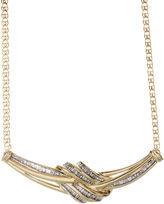 JCPenney FINE JEWELRY 1/2 CT. T.W. Diamond Swirl Baguette 10K Yellow Gold Necklace