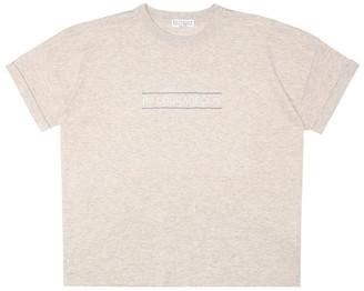 BRUNELLO CUCINELLI KIDS Embellished cotton-jersey T-shirt