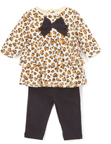 Bon Bebe Black Leopard Bow Ruffle Tier Top & Leggings