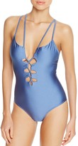 Suboo Lace Up Crisscross One Piece Swimsuit