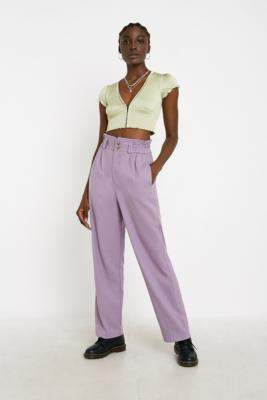 Urban Outfitters Ellie Lilac Paperbag Waist Trousers - purple XS at
