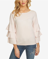 CeCe Cotton Tiered-Sleeve Sweater