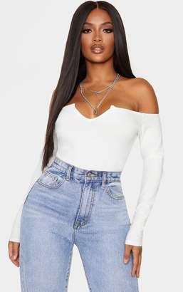 PrettyLittleThing Shape Cream Bardot V Neck Bodysuit