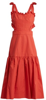 Rebecca Taylor Cut-out Cotton And Linen-blend Dress - Womens - Red