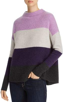 Bloomingdale's C by Mockneck Bold Stripe Cashmere Sweater - 100% Exclusive