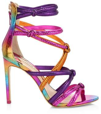 Sophia Webster Metallic & Croc-Embossed Leather Strappy Sandals