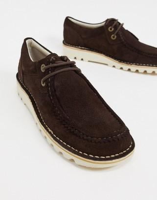 Kickers kick wall Lo suede casual derby shoes in dark brown