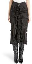Saint Laurent Women's Washed Silk Satin Ruffle Skirt