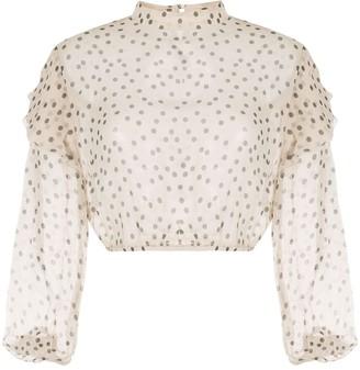 Isabella Collection polka dot ruffle blouse