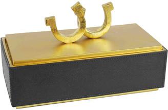 Sagebrook Home Black/Gold Horseshoe Box 11.75In