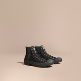 Burberry Check Detail Technical Cotton And Vulcanised Rubber Boots , Size: 43, Black