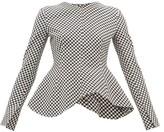 A.W.A.K.E. Mode Peplum-hem Gingham Top - Womens - Black White