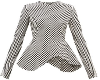 A.W.A.K.E. Mode Peplum-hem Gingham Top - Womens - Black White