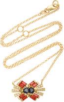 Carol Kauffmann 18K Yellow Gold Sapphire and Diamond Necklace