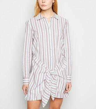 New Look Stripe Knot Front Shirt Dress
