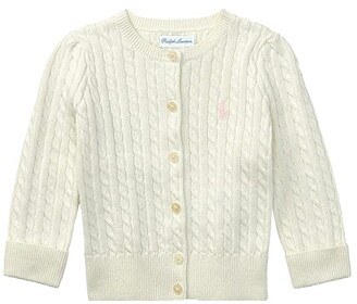 Polo Ralph Lauren Kids Cable-Knit Cotton Cardigan (Infant) (French Pink/Nevis Pony Player) Girl's Sweater