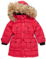 Bebe Rose Red Flap-Pocket Hooded Puffer Coat - Toddler & Girls
