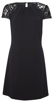 Dorothy Perkins Womens Black Lace Sleeve Shift Dress, Black