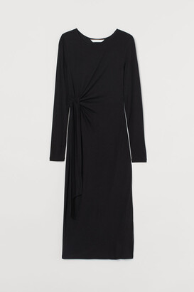 H&M MAMA Tie-detail Jersey Dress - Black