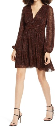 Ever New Plisse Long Sleeve Minidress