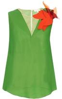 DELPOZO Floral-brooch silk-georgette top